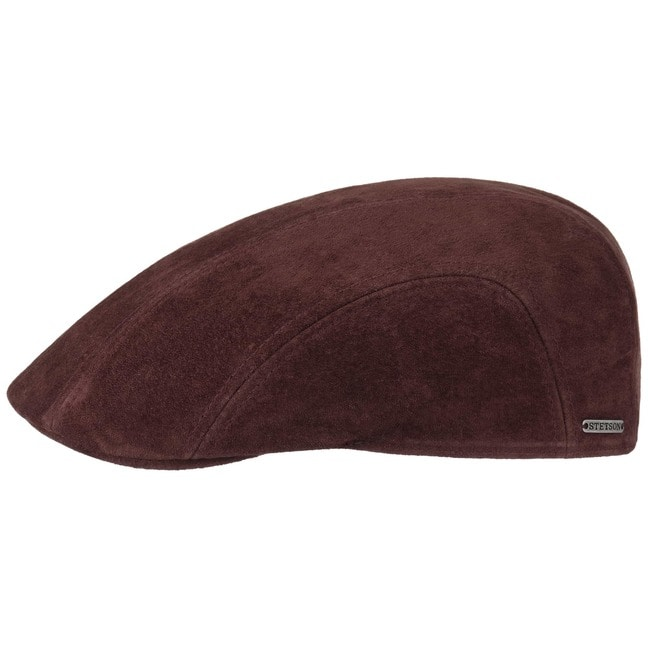 0bee8b83d7b Nubuck Leather Pigskin Flat Cap by Stetson