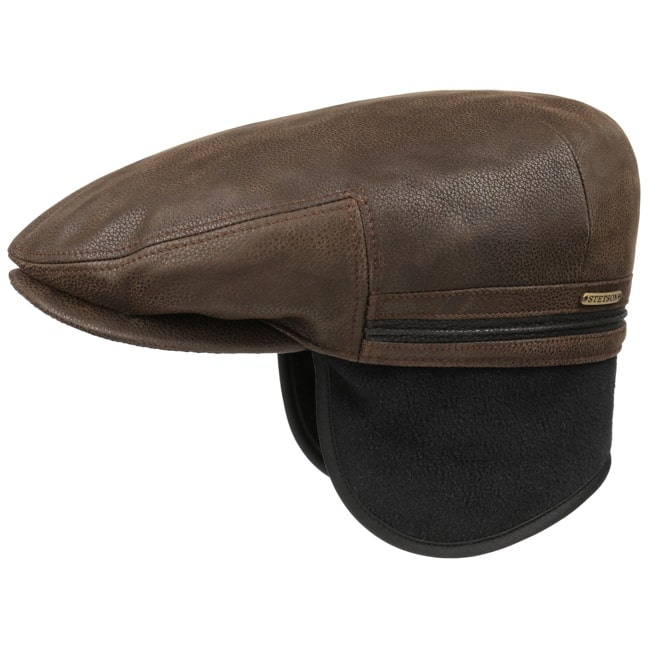 Kent Earflaps Leather Flat Cap. by Stetson 39af69367ff